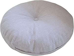 NOVWANG Natural Linen Round Floor Pillow Seating Cushion with Removable Zippered Cover Room Décor Pouf for Meditation, Yoga, Beige