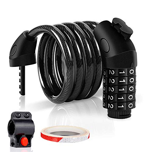 Combination Bike Lock Cable with Holder and Reflective Tape - 5 Digit Number, 4 Feet Long Bike Cable Lock with Mount Bracket, Accessories for Mountain Bike, Road Bike, Electric Bicycle, Kids Scooter