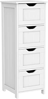 Yaheetech Bathroom Floor Cabinet, Wooden Side Storage Organizer Free-Standing Cabinet with 4 Drawers, White