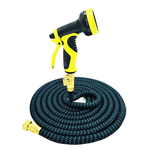 Tuyau d'arrosage Telescopic Magical Flexible Garden Watering Hose 3/4 Brass Joint High Pressure Car Wash Hose Spray Spray Nozzle (Color:Green,Size:50ft)