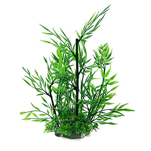 Acuario Plants Fish Tank Decorations 11 pulgadas Tall Plastic Plant Artificial Artificial Plant Gold Fish Hides Green Bamboo (tipo A 1pcs)