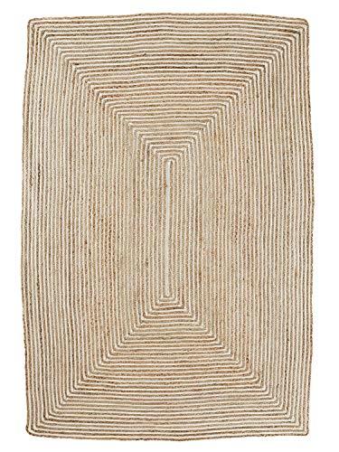 heine home handgewebter Flechtteppich mit Elementen Jute Flur Diele unifarben ca. 60x90 cm