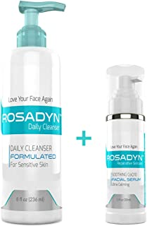 Rosadyn Cleanser and Serum Set - Soothing Daily Cleanser and Calming Anti Aging Serum Treatment Gel for Facial Redness Relief, Natural Skin Care your Delicate Face
