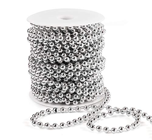 Anstore 15M Christmas Bead Chain, Christmas Bead Garlands for Christmas Decorations (Silver)
