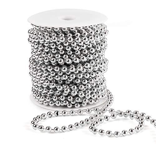 Anstore Perlenband Perlenkette Perlengirlande Perlenschnur Weihnachten Advent Hochzeit Deko Tischdeko, Silber, 15 Meter
