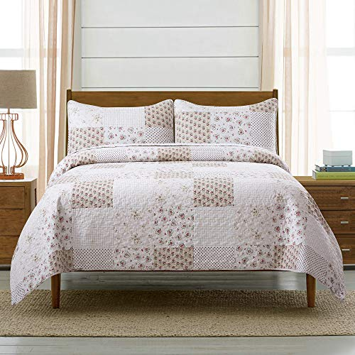 Soul & Lane Budding Beauty 3-Piece 100% Cotton Lightweight Quilt Set - King with 2 Shams | Summer Quilted Bedspread