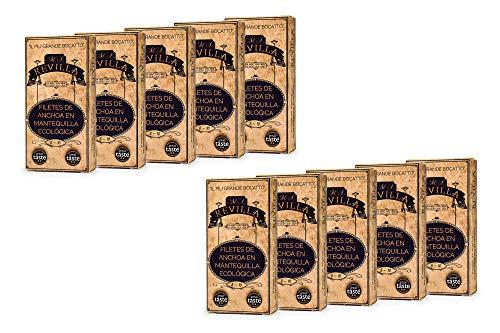 Anchoas con MANTEQUILLA Revilla - Pack 10 octavillos 50g. Anchoas de Santoña...