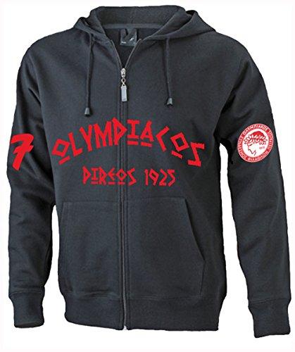 SRS-Textilservice Olympiakos Piräus Hooded Jacke Sweatjacke Hellas Griechenland Greece (4XL, Schwarz)