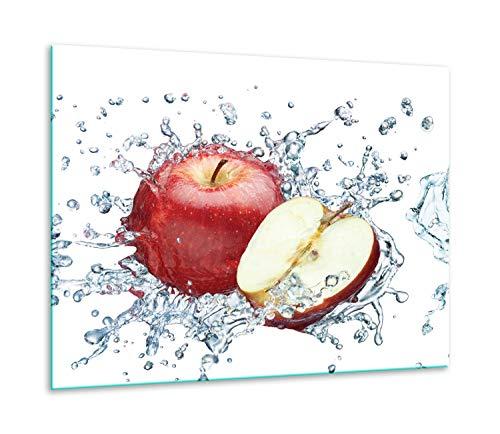 QTA | fornuisafdekplaat 60x52cm keramische afdekking 1-delig universeel elekrofornuis inductie voor kookplaten fornuis bescherming spatscherm appel