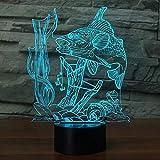 3D Illusion Lampe Angeln Nachtlicht mit 7 Farben blinken & Touch-Schalter USB Powered, Schlafzimmer...
