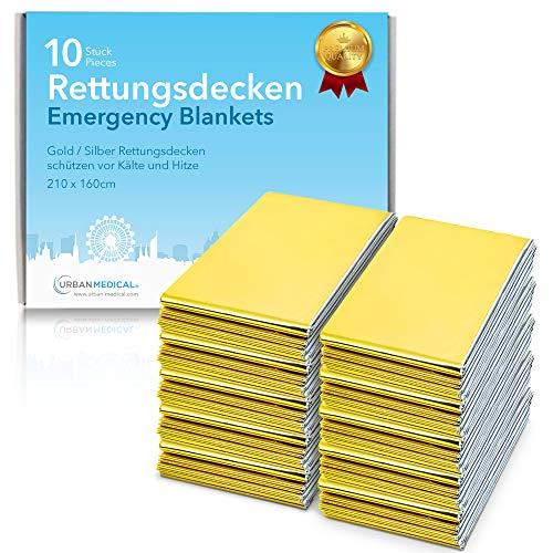 URBAN MEDICAL Premium Rettungsdecke Erste Hilfe Rettungsfolie | 5-15 Stück | Gold/Silber | 210 x 160 cm | wasserdichte Notfalldecke | Kälteschutz | Hitzeschutz | Autozubehör |