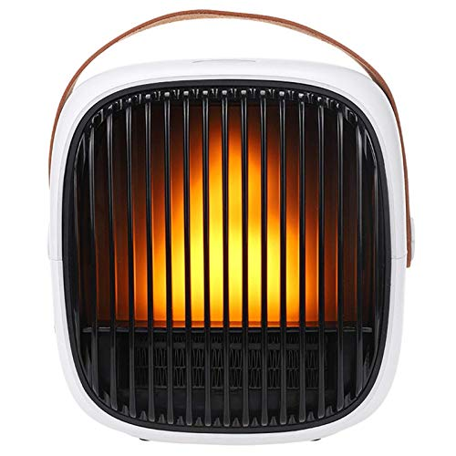 miwaimao Fan Heater, Portable Electric Heater Adjustable Thermostat, Multi-function LED Display, 3 Heat Settings, Mini Heater with irewood burning flame effect and sound effect, Carrying Handle (W.