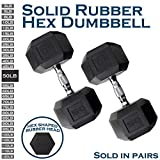 WF Athletic Supply Rubber Coated Solid Steel Cast-Iron Pair Dumbbells, Rubber Hex Dumbbells, Hex Weights Dumbbells for Muscle Toning, Full Body Workout, Home Gym Dumbbells, Pair