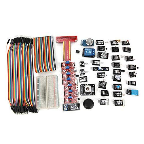 weichuang Elektronisches Zubehör 37 Sensor-Modul-Kit mit T Typ GPIO Jumper Kabel Breadboard für RPi Karton Box Paket Elektronische Teile Elektronisches Zubehör