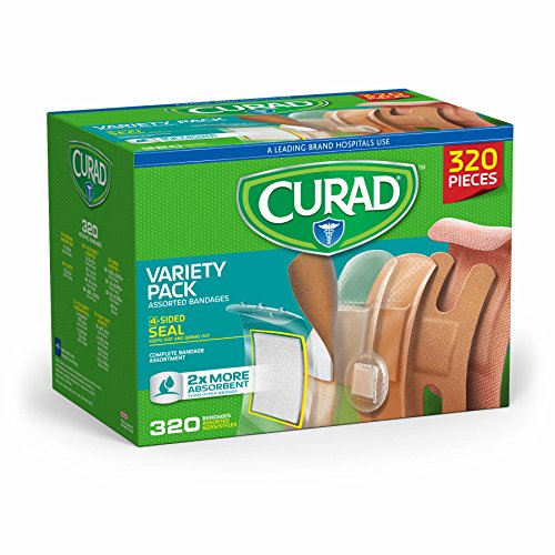 Curad Bulk Variety Pack Assorted Bandages, Flex-Fabric, Waterproof, Plastic, Knuckle, Heavy Duty...