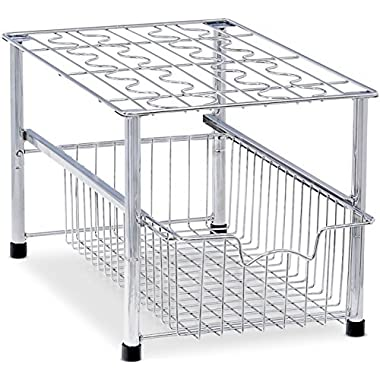 SimpleHouseware Stackable Under Sink Cabinet Sliding Basket Organizer Drawer, Chrome