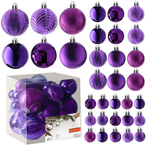 Prextex Purple Christmas Ball Ornaments for Christams Decorations - 36 Pieces Xmas Tree Shatterproof Ornaments with Hanging Loop for Holiday and Party Deocation (Combo of 6 Styles in 3 Sizes)