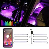Trongle Luz Interior Coche con APP, Tira LED Iluminación Impermeable 48 LED Multi DIY Color Música, Auto Interior Atmósfera Led Iluminación, Cargador del USB 5V