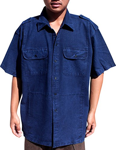 RaanPahMuang Thai Farmers MawHom Cotton Shirt Short Sleeve European Collar, Large, Navy