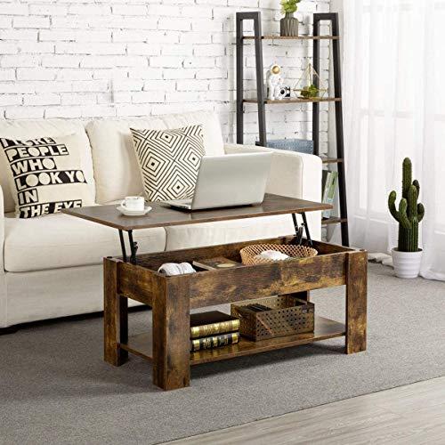 Keebgyy Mesa de centro con almacenamiento, mesa de centro elevable para sala de estar, mesas de café modernas, compartimento oculto grande, muebles de madera plegable (marrón)
