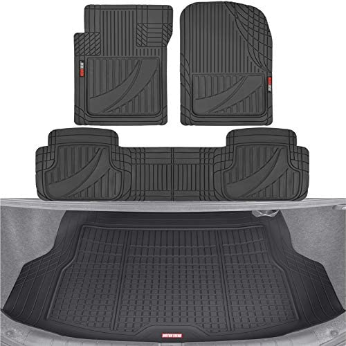 Motor Trend FlexTough Advanced Black Rubber Car Floor Mats with Cargo Liner Full Set Front Rear product image