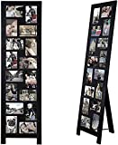 Adeco Wood Screen Style Collage Picture Photo Frame, 16 Opening Decorative Floor Standing Easel Photo Frame, 4 x 6 Inch, 1 PC