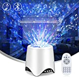 Night Light Projector for Kids-LED Star Galaxy Projector with 16 Music/Sounds,Bluetooth Speaker,Moving Ocean Wave- 4in1 Sleep Sound Machine for Nursery/Yoga/Sleeping/Party(Voice&Remote Control)
