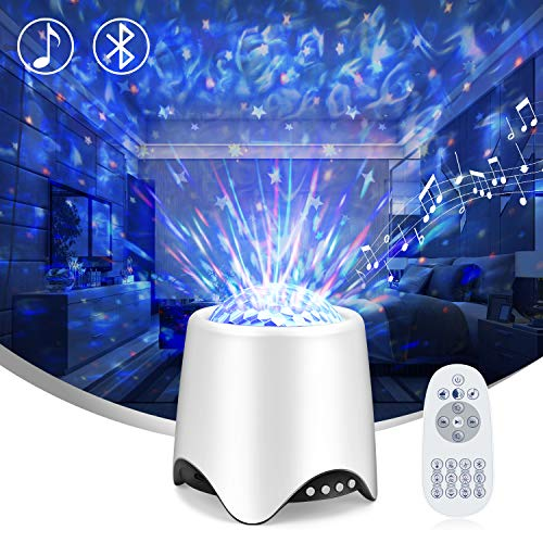 Night Light Projector for Kids-LED Star Galaxy Projector with 16 Music/Sounds,Bluetooth Speaker,Moving Ocean Wave- 4in1 Sleep Sound Machine for Nursery/ Yoga/Sleeping/Party(Voice&Remote Control)