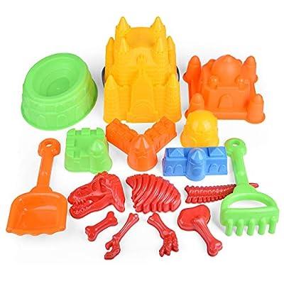FunLittleToy Kids Beach Sand Toy Set, Beach Bucket, Shovel, Rake, Dinosaur Sand Molds, Sand Castle Building Kits with Mesh Bag, Kids Outdoor Toys Sandbox Toys 17 Piece