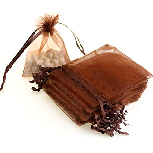 "AKStore 100PCS 4x6"" (10x15cm) Drawstring Organza Jewelry Favor Pouches Wedding Party Festival Gift Bags Candy Bags (Brown)"
