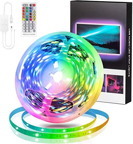 swonuk Tiras LED,Luces LED RGB 5M 5050 con 4 Modos de Control Remoto Tira de Luz LED de Brillo Ajustable para la Dormitorio, Techo, TV,Armario, Decoración de Fiestas