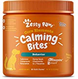 Zesty Paws Calming Bites for Dogs - Anxiety Composure Relief with Suntheanine - for Dog Stress & Separation Aid in Fireworks, Thunder + Chewing & Barking - Turkey Flavor - 90 Count Soft Chews