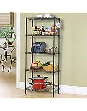 رف التخزين المعدني للمطبخ وهو وحدة مكونة من 5 رفوف تخزين بطبقات من السلك تصلح للاستخدام في الحمام