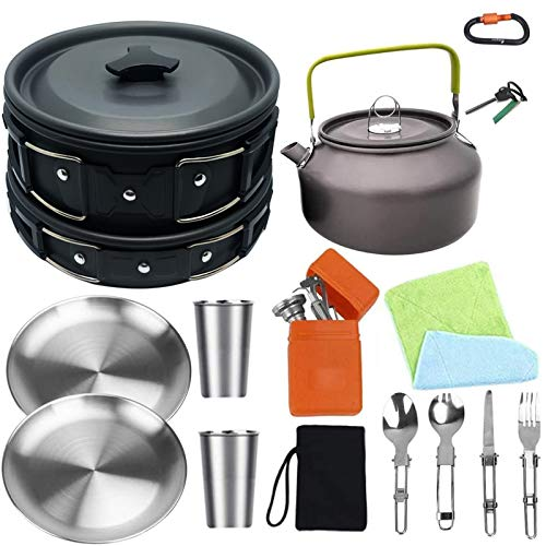 Bisgear Camping Cookware 18/8 Plates Outdoor Stove Kettle Pot Pan Mess Kit Stainless Steel Cup...