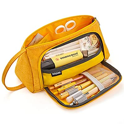 EASTHILL Big Capacity Pencil Case Large Pencil Pen Pouch Bag High Storage Case Middle School College Office Organizer for Student Teens Girls Adults -Yellow from ANGOO