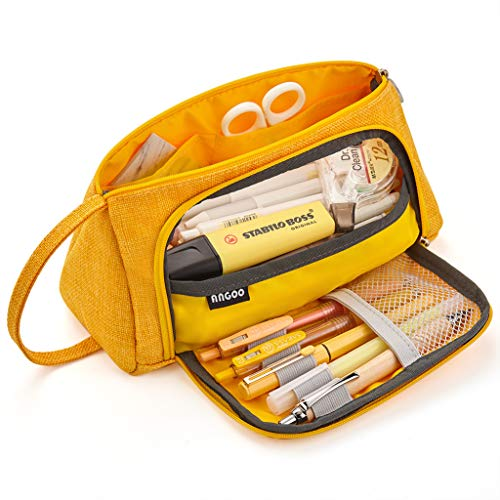 EASTHILL Big Capacity Pencil Case Large Pencil Pen Pouch Bag High Storage Case Middle School College Office Organizer for Student Teens Girls Adults -Yellow