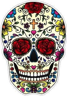 In Touch Day of The Dead Decal Rockabilly Rock Vintage Sugar Skull Sticker #29