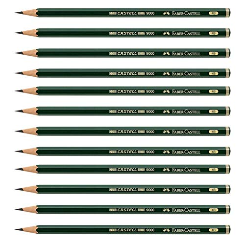 Faber-Castell Pencils, Castell 9000 Artist graphite pencils, 4B black lead Pencil for drawing, sketch, shading - box of 12