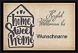 crealuxe Fussmatte - Herzlich Willkommen Home Sweet Home .mit Wunschname - Fussmatte...