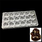VAK Schokoladenform mit 24 Zellen, in Schneemann-Form, aus Polycarbonat, quadratisch, Backform, Schokoladenform, für Kuchen, Gebäck, Süßigkeiten, Schokolade, Backzubehör