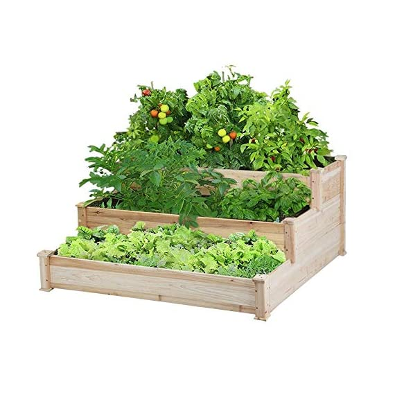 YAHEETECH 3 Tier Wooden Raised Garden Bed Elevated Planter Box Kit Outdoor Solid Wood 49''x49''x21.9'' 1 Selected material – Our raised garden bed is made of no paint, non-toxic 100% fir wood, which is known for its strength and dimensional stability as well as its natural resistance to rot and pests. The 1.5cm/ 0.6'' thick solid wood boards are only sanded to prevent any undesired injury caused by wood splinters. Useful & Practical – With this helpful planter, you can cultivate plants like vegetable, flowers, herbs in your patio, yard, garden and greenhouse, and make them more convenient to manage. Customizable design – This elevated planter provides 3 growing areas for different plants or planting methods. Each tier is connected with wood plugs, which allows this 3-tier garden bed to be easily transformed into 3 separate growing beds in different sizes if needed.
