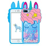 Joyleop Blue Quicksand Unicorn Case for iPhone 6 Plus/7 Plus/8 Plus Animal Shiny Bling 3D Cartoon Silicone Cute Fun Cover 3D Kawaii Girls Women Cases Funny Character Design for iPhone 678 Plus 5.5'