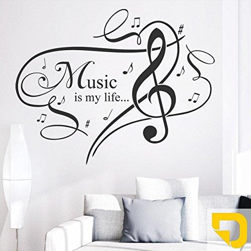 DESIGNSCAPE® Wandtattoo Music is my life. 60 x 47 cm (Breite x Höhe) gelb DW805053-S-F32