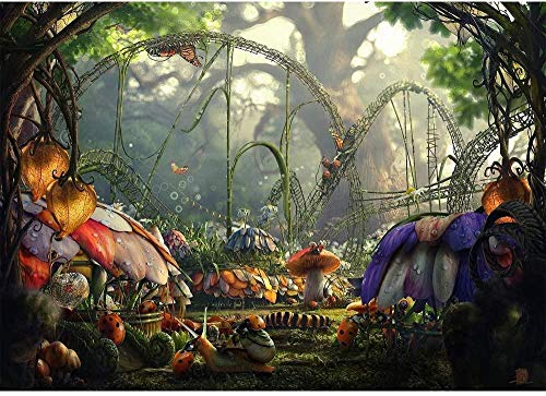 Photo Background Newborn 7x5ft Fairytale Flower Garden Mushroom Backdrops for Kids Picture Ladybug Cartoon Animal Forest Backdrop for Birthday Pictures No Wrinkle