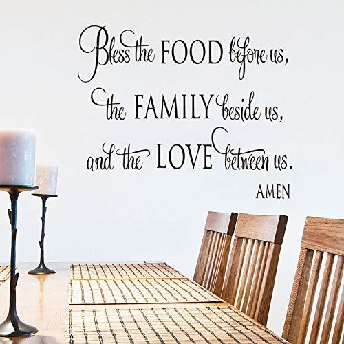 Zegen de voedsel muurstickers voor ons citaat restaurant vinyl stickers keuken home decor woonkamer wanddecoratie stickers 50.4x40.8cm