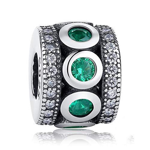 LILIANG Charm Jewelry 925 Sterling Silver Shining Path Cuentas Espaciadoras Piedra Verde Dijes Redondos Fit Pulseras Brazaletes Mujeres Joyería De Moda