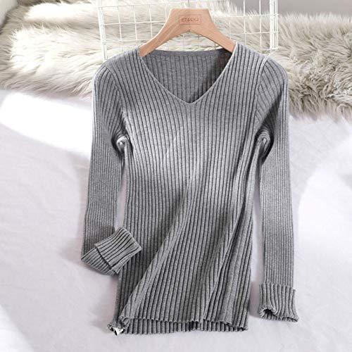 Moda Sudaderas Jersey Sweater Suéter Básico con Cuello En V Sólido Otoño Invierno Pullover Mujer Suéter De Punto Delgado Suéter De Manga Larga Barato OneSize Grey
