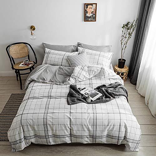 YuanBo Wo Juego de funda de edredón cuadrada de 4 piezas de algodón simple de impresión activa y teñido para dormitorio con 2 fundas de almohada