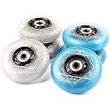 VAKA Light Up Inline Skate Wheels with Bearings 4 Pack- Luminous Flash Inline Skates Replacement Wheel 76mm (Blue)