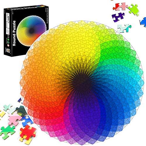 Runde Puzzle 1000 Teile,Puzzle Kreative Erwachsene,Regenbogen Puzzle,Erwachsenenpuzzle,Legespiel Puzzle,Puzzle Pädagogisches,Puzzle Stressfreisetzung Spielzeug (Regenbogen)